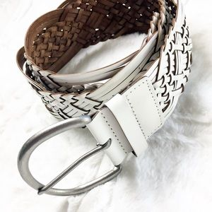 Woven Braided Belt Boho Leather White New with Tag